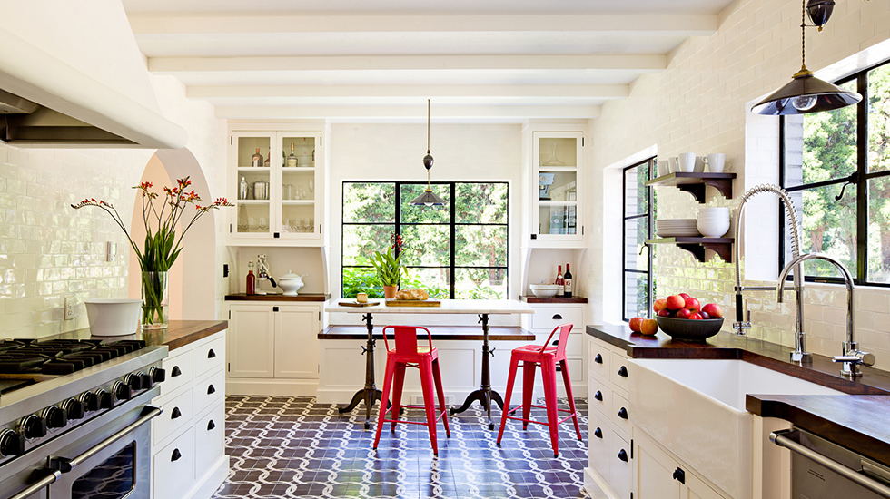 Industrial Kitchen Pop of Red