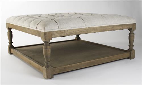 Square Tufted Linen Natural Oak Coffee Table Ottoman