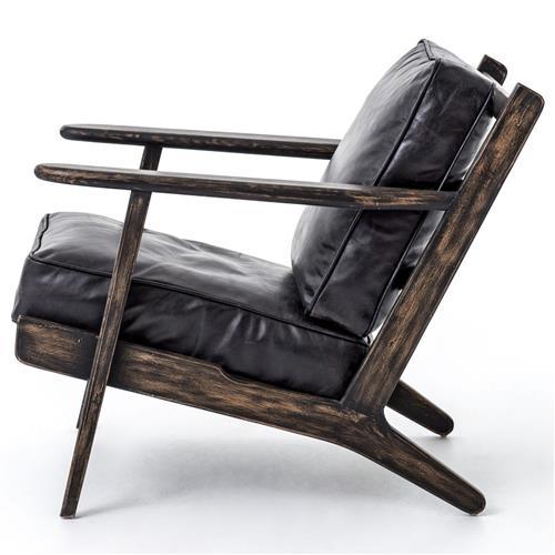 Magnificent Rider Mid Century Modern Oak Black Leather Armchair Inzonedesignstudio Interior Chair Design Inzonedesignstudiocom