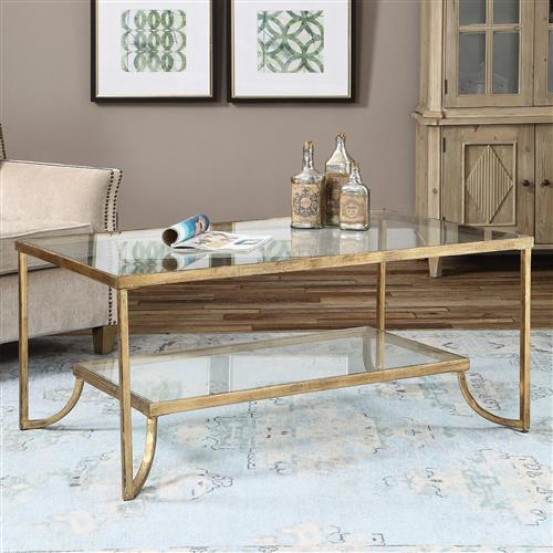 Madox Modern Classic Antique Gold Leaf Glass Rectangular Coffee Table 41
