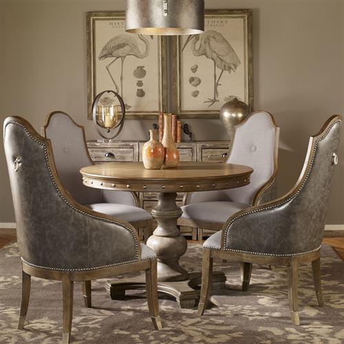 Marius French Country Round Wood Silver, French Country Round Kitchen Table