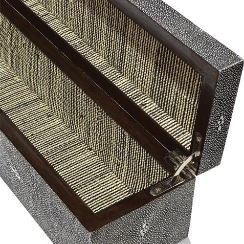 Palecek Drake Regency Charcoal Shagreen Wide Steel Decorative Box Kathy Kuo Home