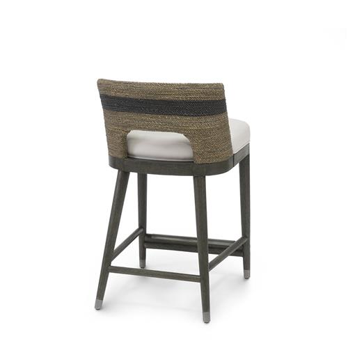 Marvelous Palecek Fritz Coastal Striped Grey Rope Counter Stool Pabps2019 Chair Design Images Pabps2019Com