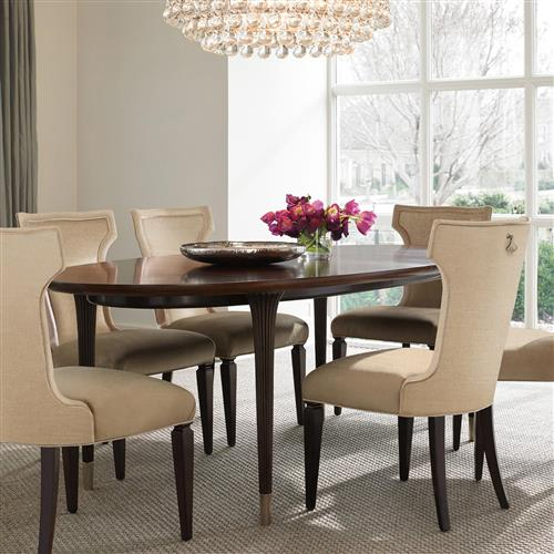Dean Hollywood Regency Oval Wooden Gold Dining Table