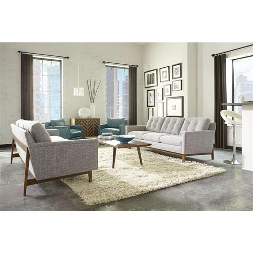 Kaia Modern Classic Grey Upholstered Tufted Loose Back Wooden Sofa