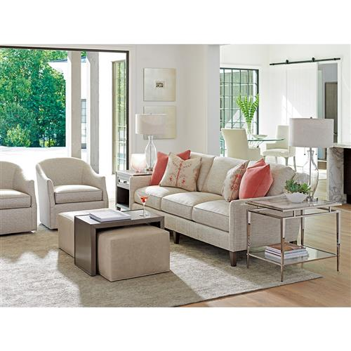 Fabulous Lexington Savona Modern Beige Leather Upholstered Cocktail Ottoman With Slide Tray Gmtry Best Dining Table And Chair Ideas Images Gmtryco