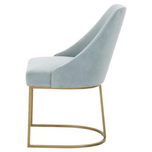 Patricia Modern Brushed Gold Blue Velvet Upholstered Dining Side Chair Set Of 2 Kathy Kuo Home