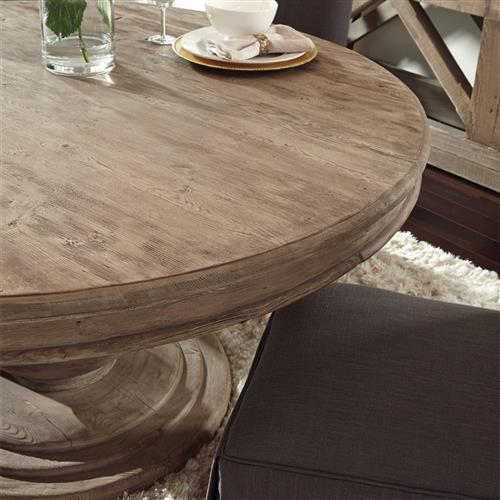 Louis Rustic Lodge Natural Brown Round Distressed Pine Wood Dining Table 60d 51 D 60 D Kathy Kuo Home
