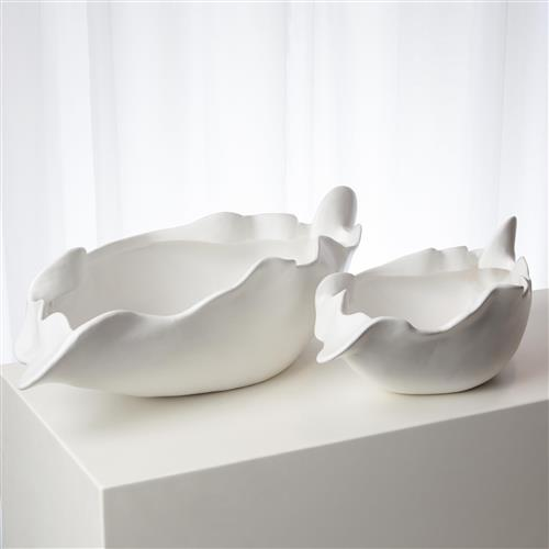 Lauren Modern Classic White Ceramic Abstract Decorative Bowl Small Large Over 15 W Kathy Kuo Home