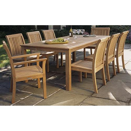 Kingsley Bate Wainscott Modern Teak Rectangular Outdoor Dining Table Large Kathy Kuo Home