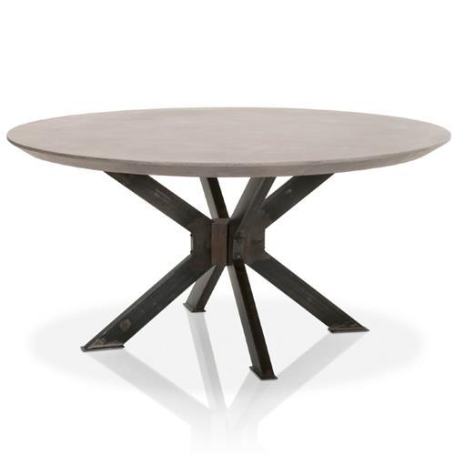 Scarlett Industrial Loft Grey Concrete, Round Table 60