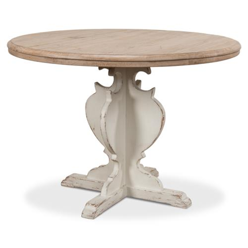 Amelia French Country White Pedestal Natural Pine Woodgrain Round Dining Table 41 D 50 D Kathy Kuo Home