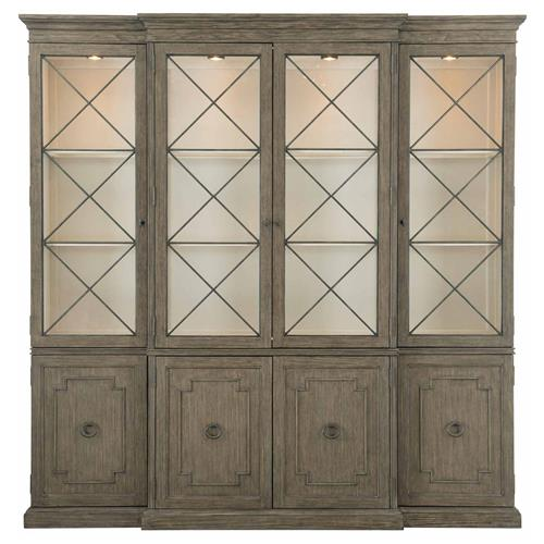 Miraflor French Country Taupe Pine Wood, French Country China Cabinet