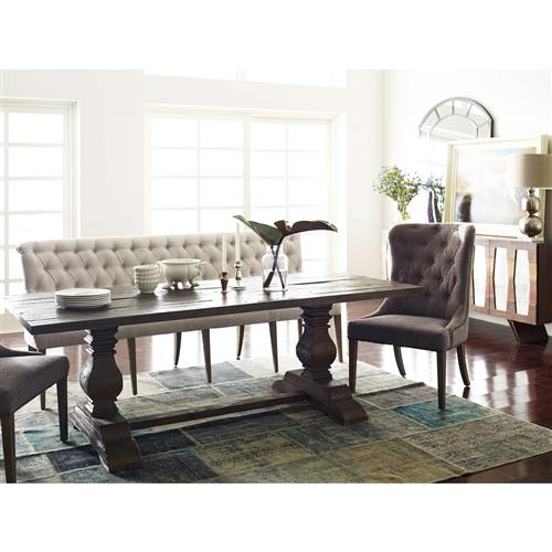 Andrea French Country Tufted Sand Long Dining Bench Banquette Long Above 55 W Kathy Kuo Home
