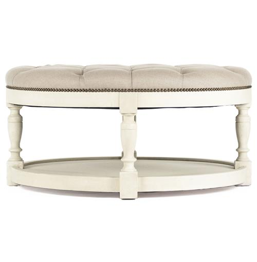Enjoyable Marseille French Country Cream Ivory Linen Round Tufted Coffee Table Ottoman Caraccident5 Cool Chair Designs And Ideas Caraccident5Info