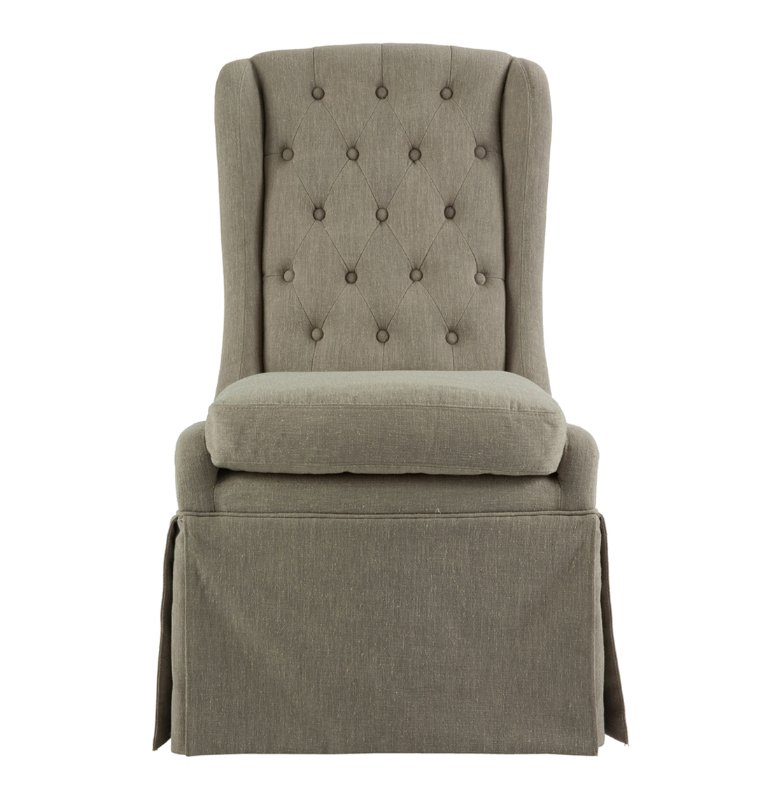 Issac French Gray Linen Skirted Tufted Dining Occasional Chair