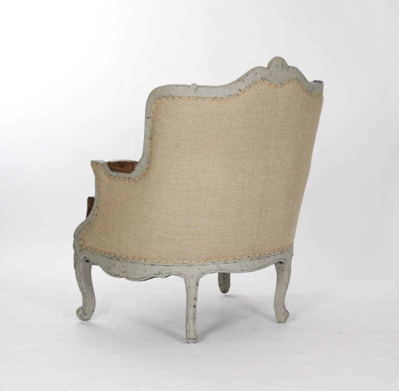 Adele French Country Top Grain Leather Burlap Accent Arm Chair