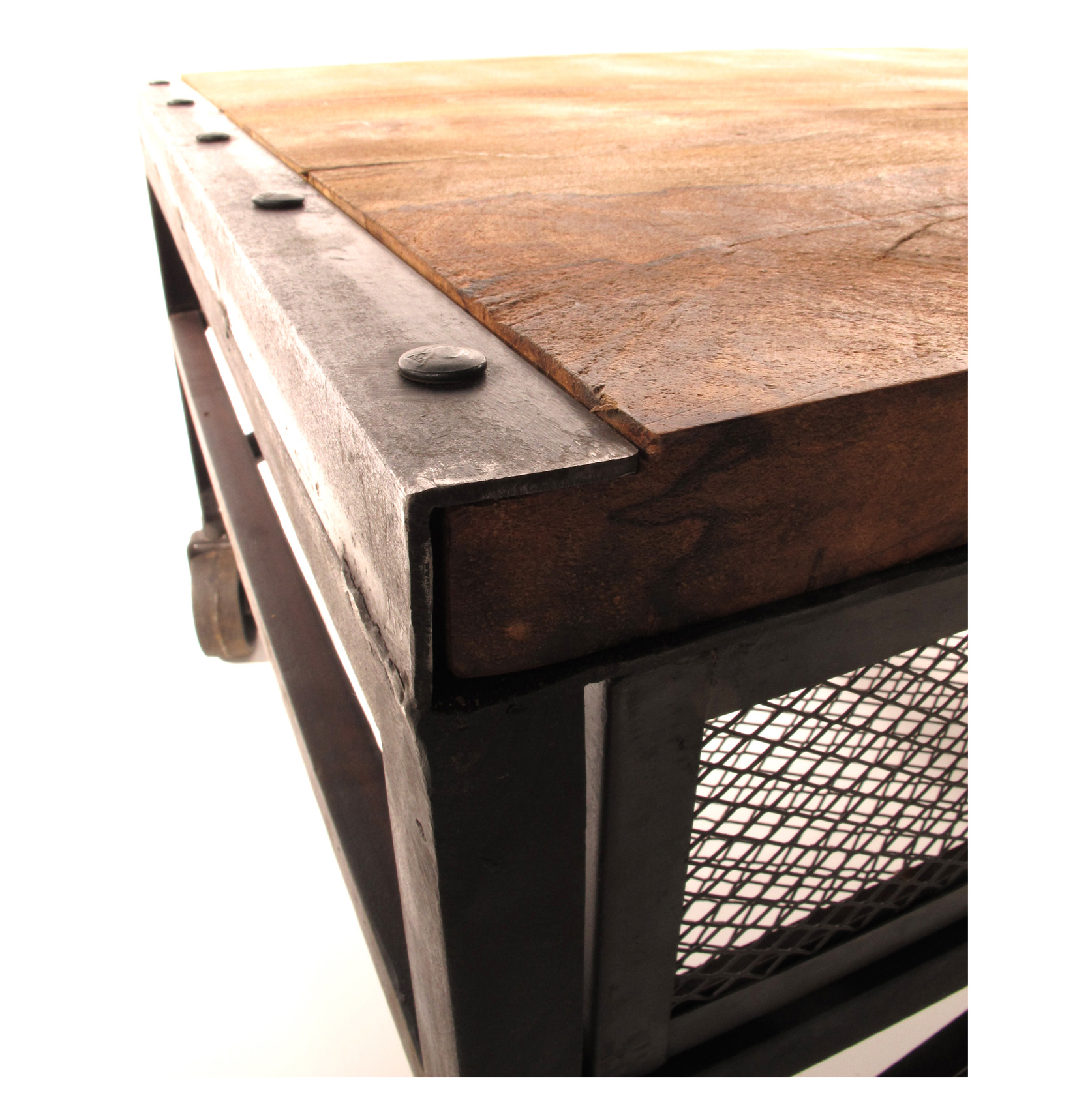 Tribeca Industrial Mesh Drawer Caster Wheel Coffee Table