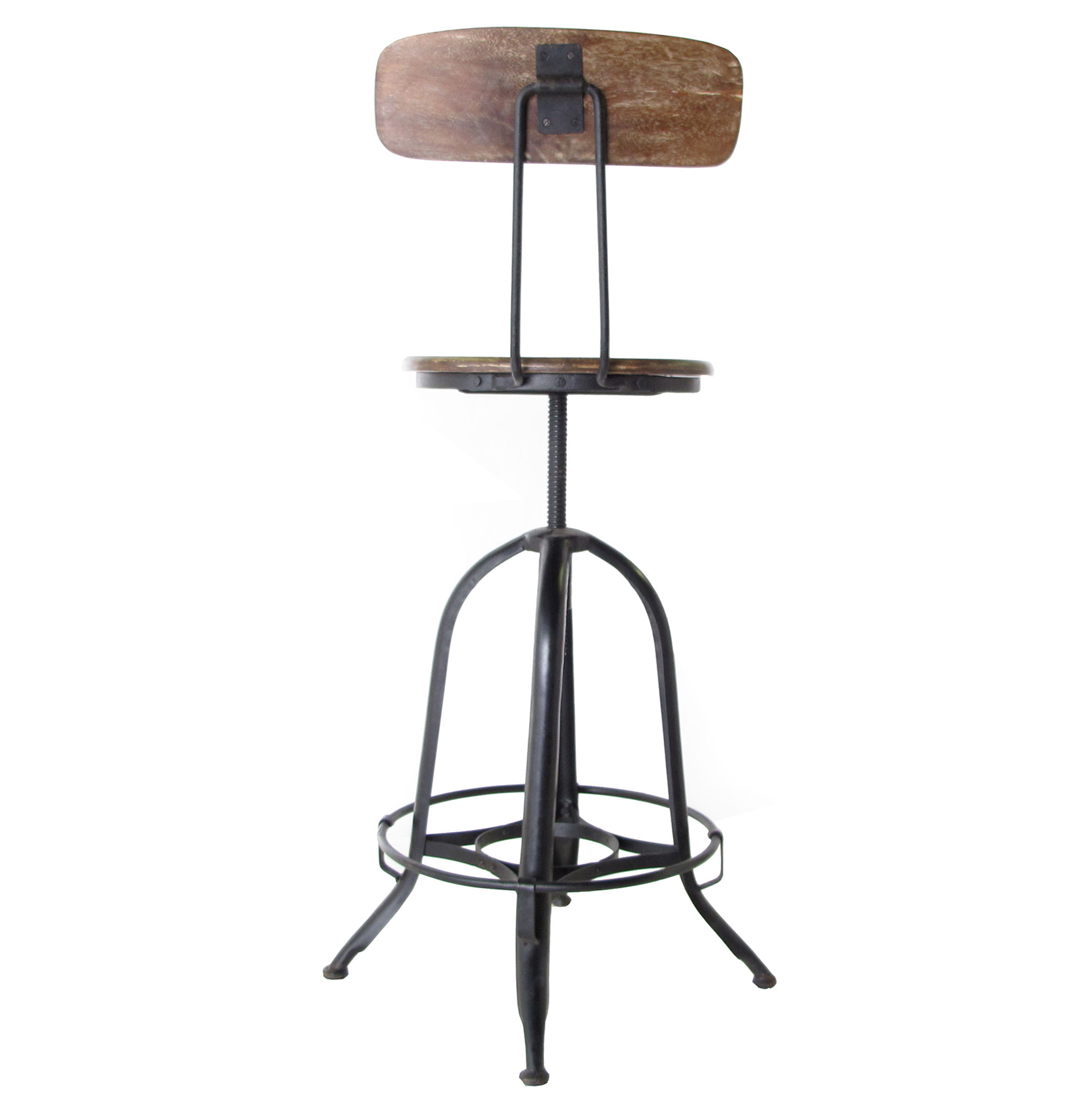 Marvelous photograph of  Industrial Wood Iron Counter Bar Swivel Stool with Back Bar with #6E4D3B color and 1674x1710 pixels