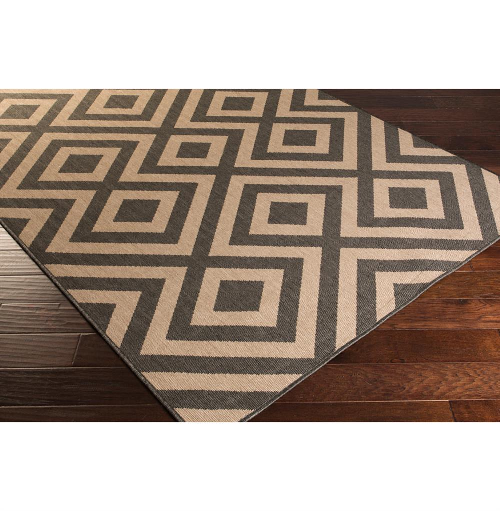Black Graphic Woven Emerson Indoor Outdoor Area Rug: Gennifer Modern Graphic Black Taupe Outdoor Rug