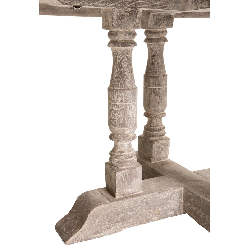 Roulette French Country Distressed Grey Outdoor Dining Table