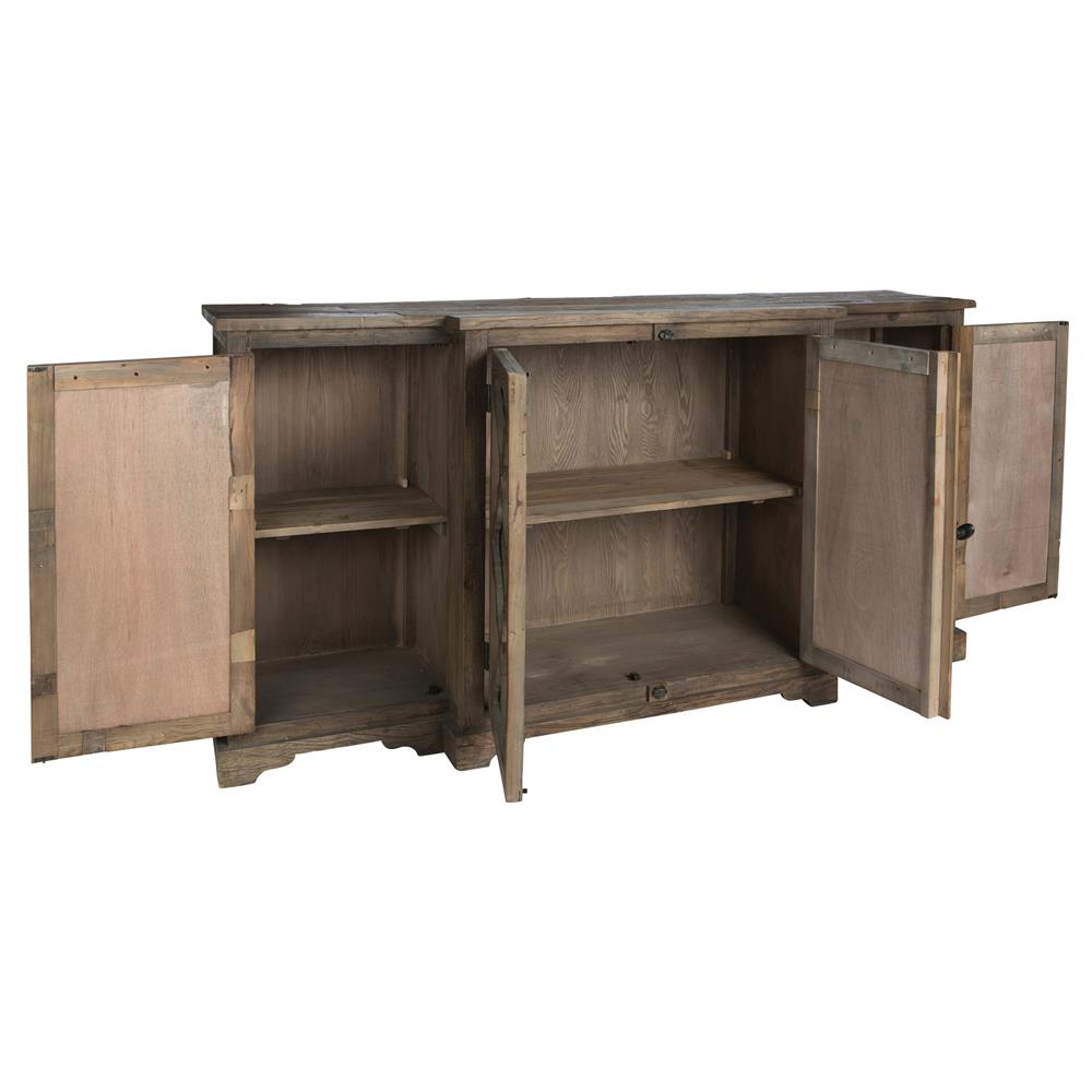 Wayside wood buffet sideboard cabinet with glass paneled for Sideboard glas