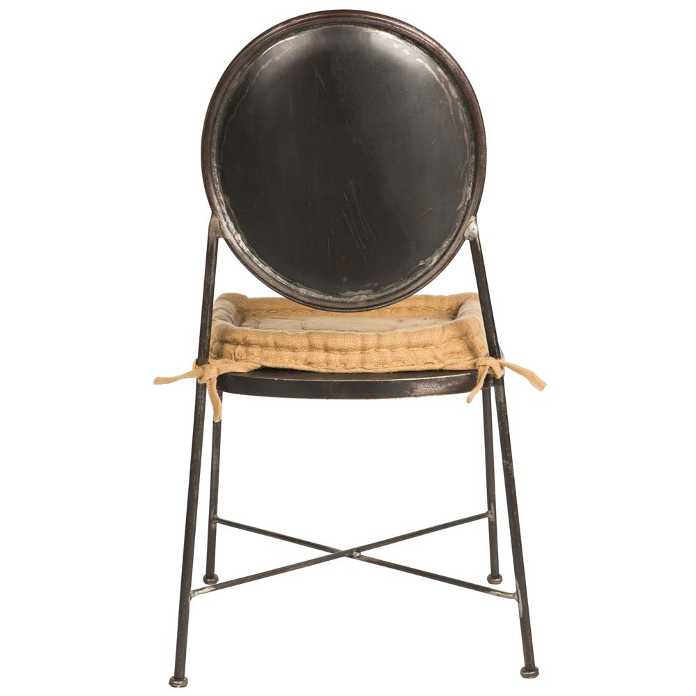 Industrial loft steel burlap seat dining chair kathy kuo home