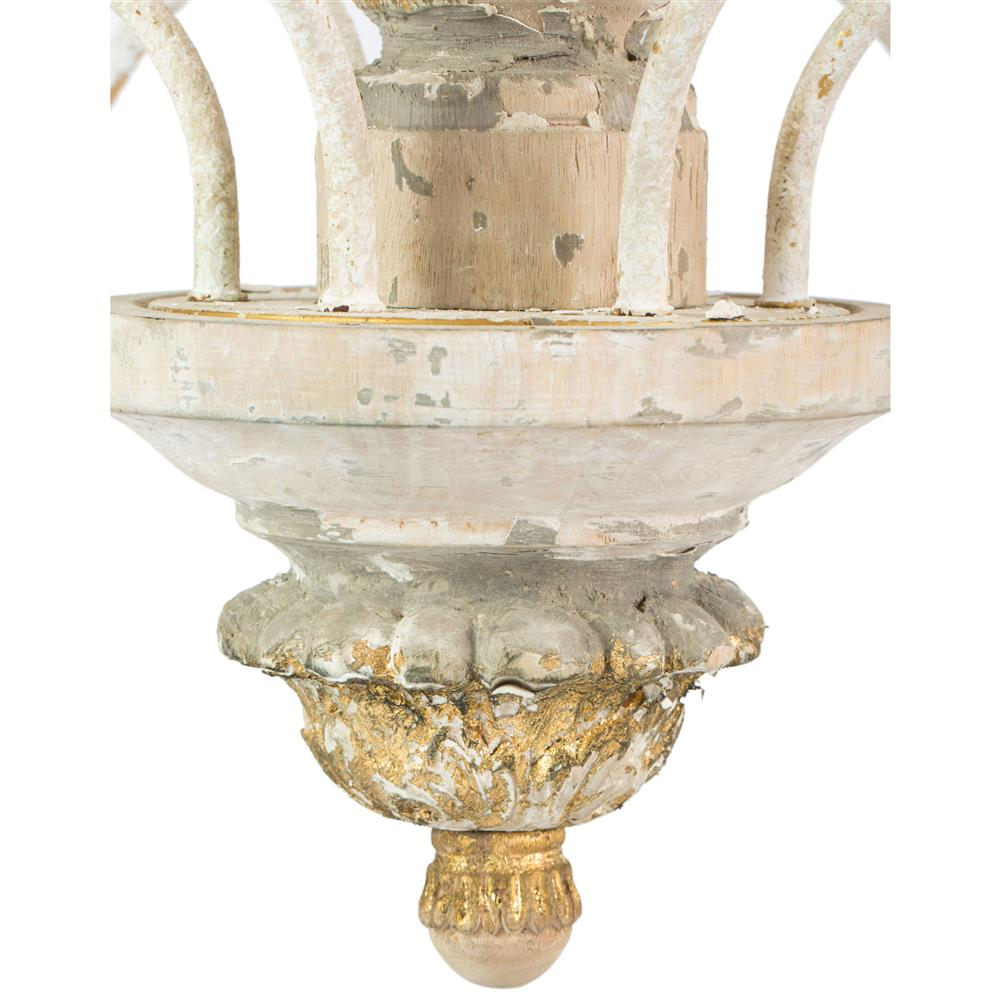 Fontaine French Country 2 Tier Distressed White Beaded