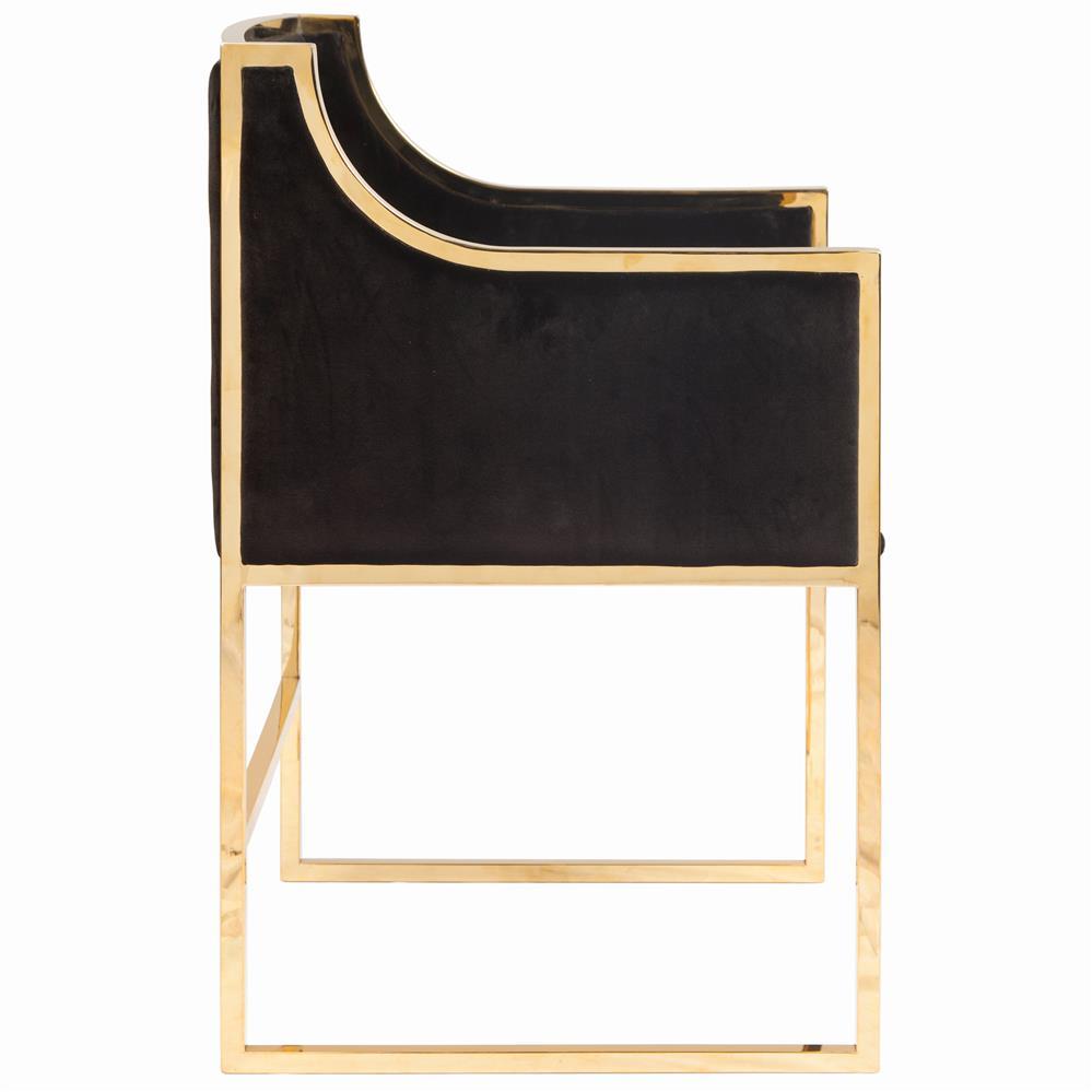 Anastasia Hollywood Regency Black Velvet Brass Frame ...