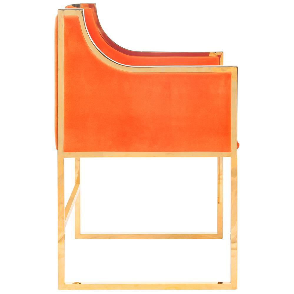 Anastasia Hollywood Regency Orange Velvet Brass Frame ...