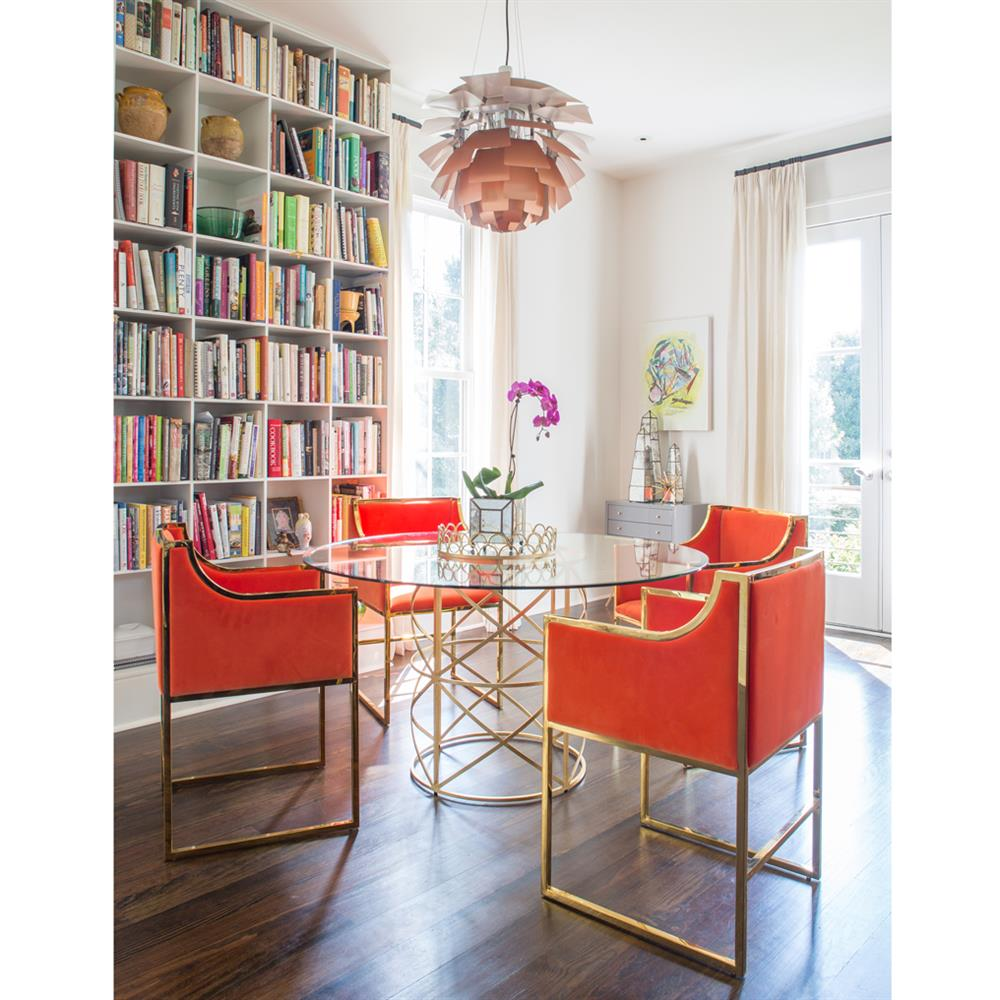 Anastasia Hollywood Regency Orange Velvet Brass Frame