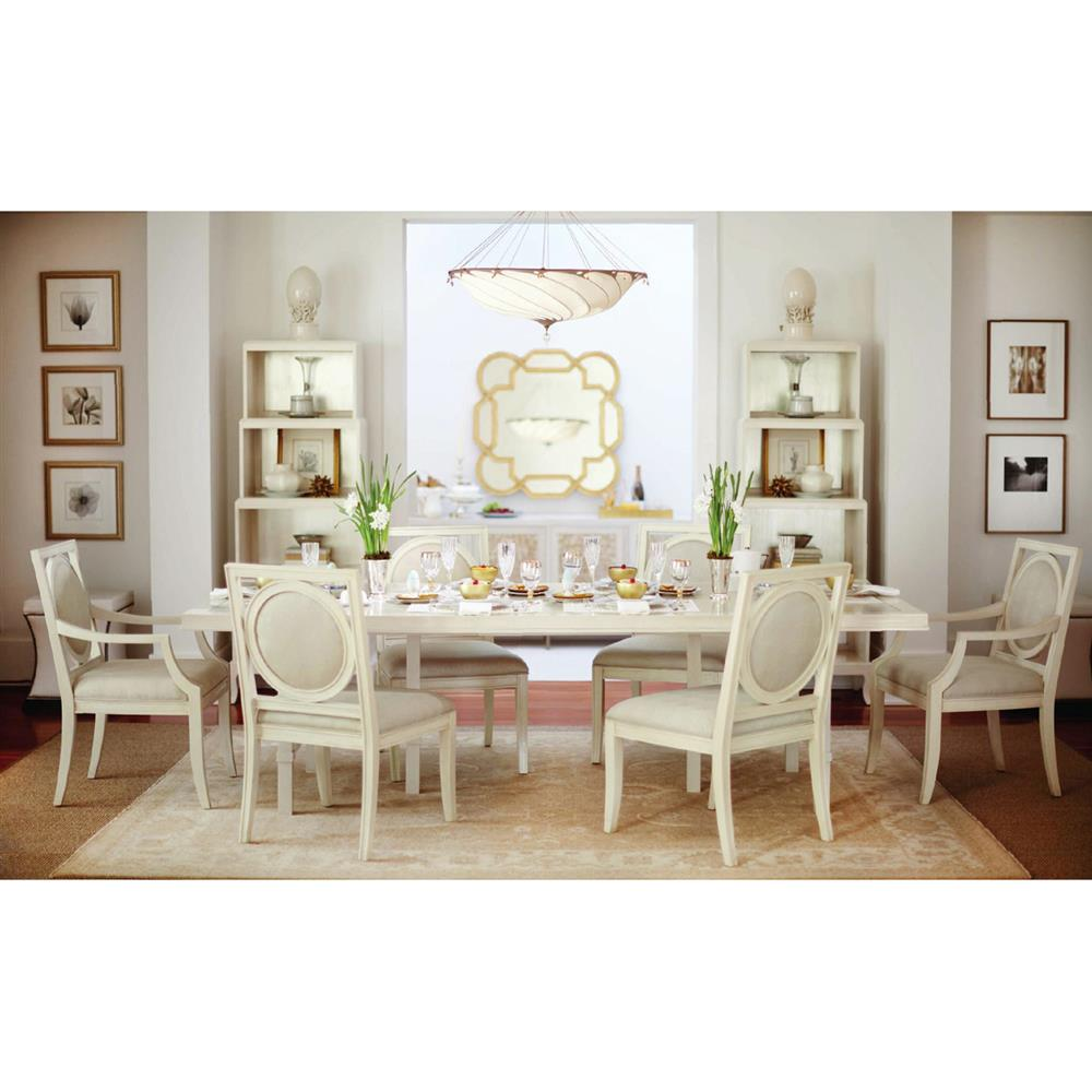 Oriana Modern Ivory Wood Inlaid Brass Dining Table