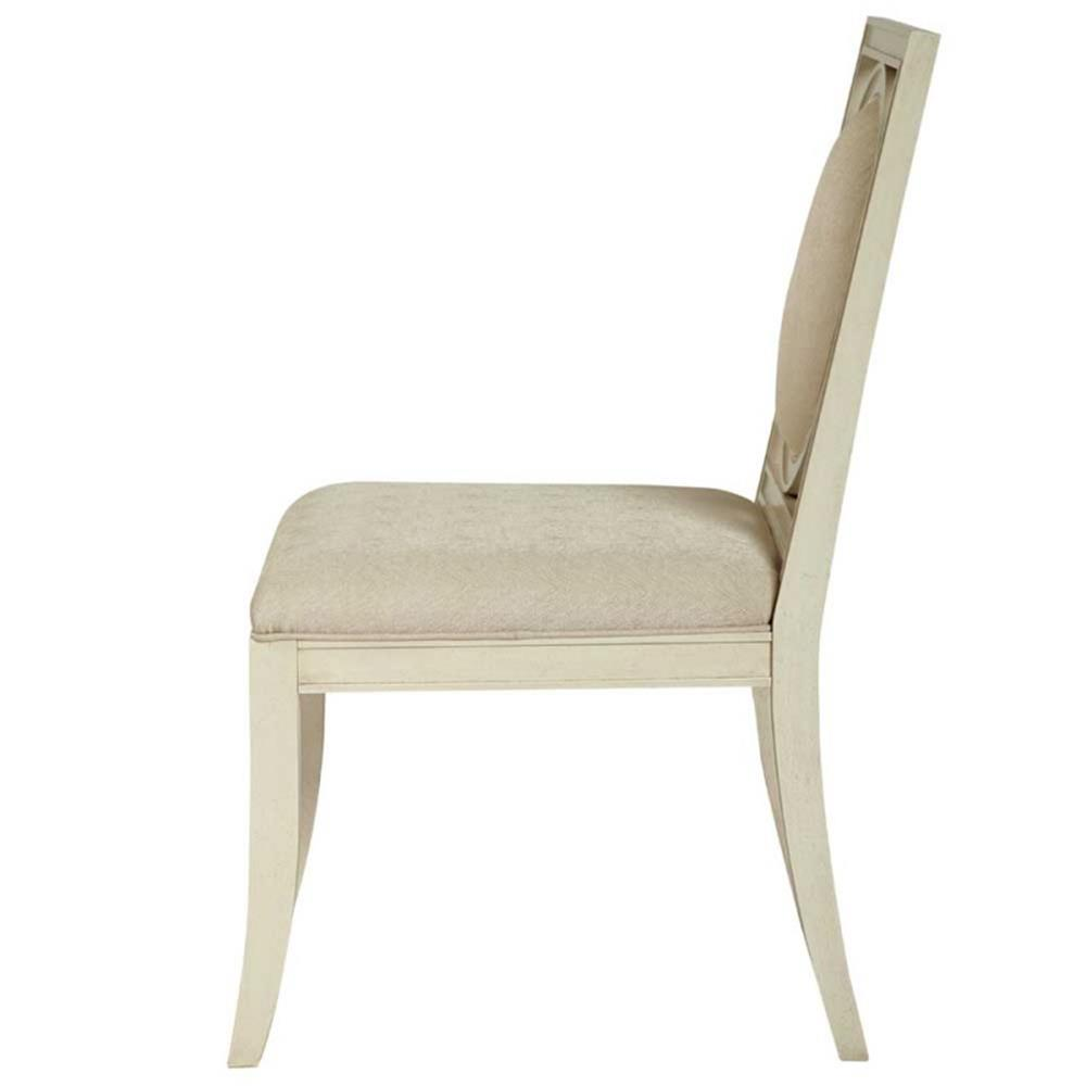 Oriana modern classic upholstered cream wood side dining chair for Modern upholstered dining room chairs
