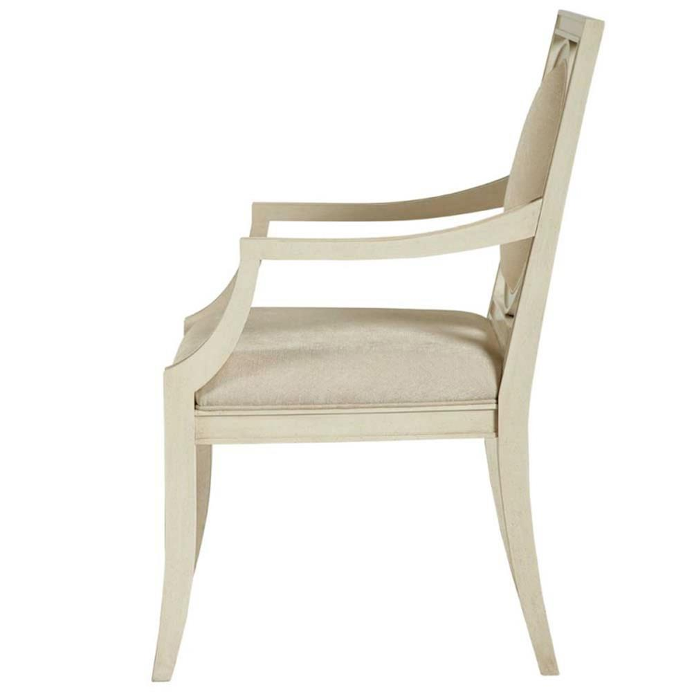 Oriana modern classic upholstered cream arm chair kathy for Modern upholstered dining room chairs