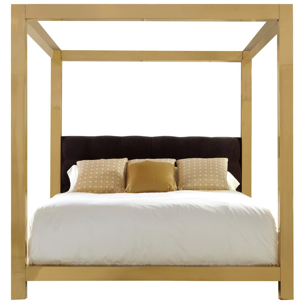 view full size ... - Astoria Hollywood Regency Brass Upholstered King Canopy Bed