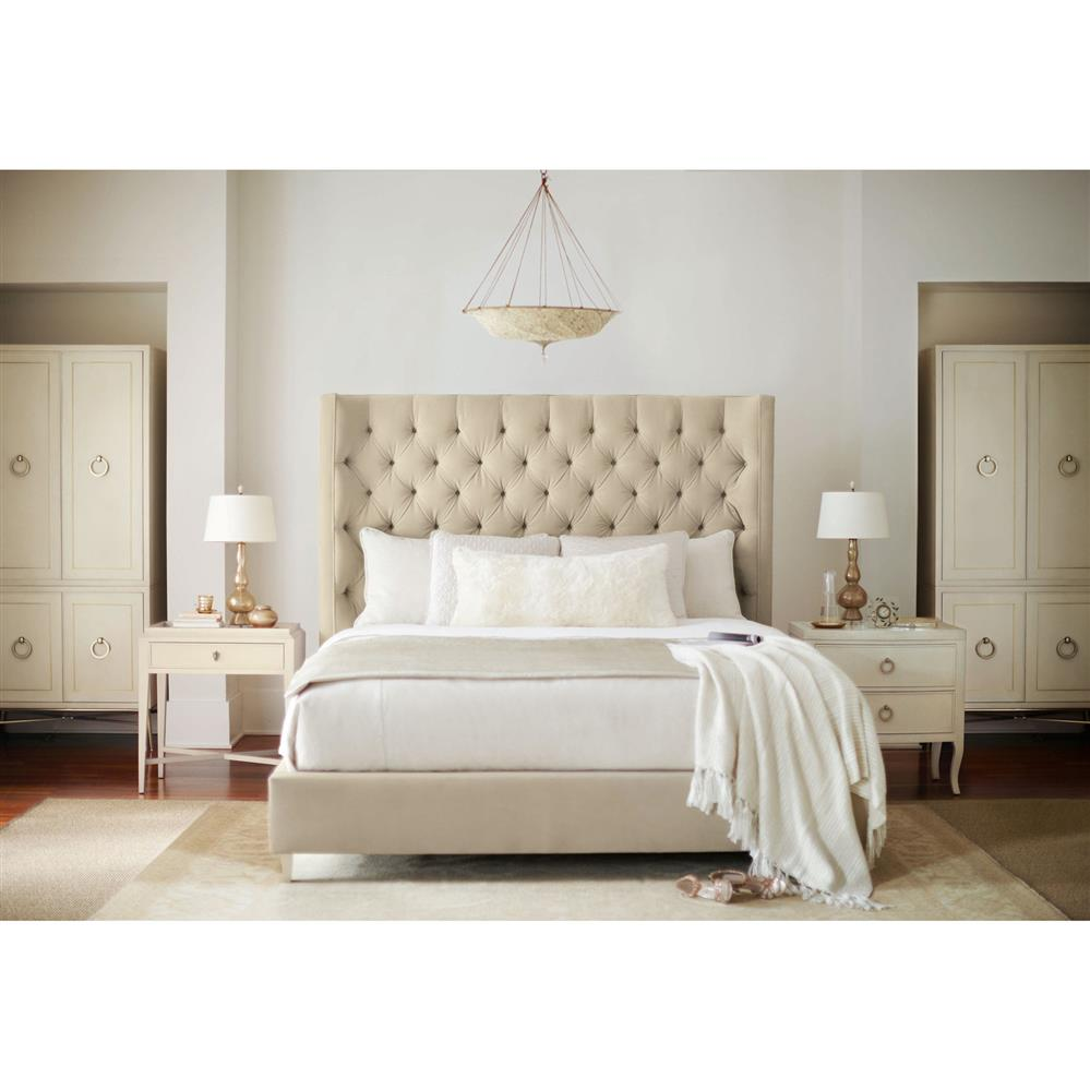 Oriana Modern Classic Ivory Upholstered Tufted Panel Bed