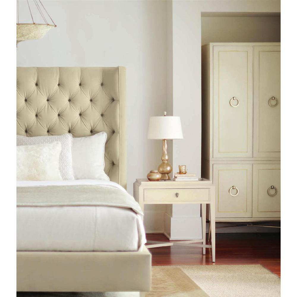 oriana modern classic ivory upholstered tufted panel bed king. Black Bedroom Furniture Sets. Home Design Ideas
