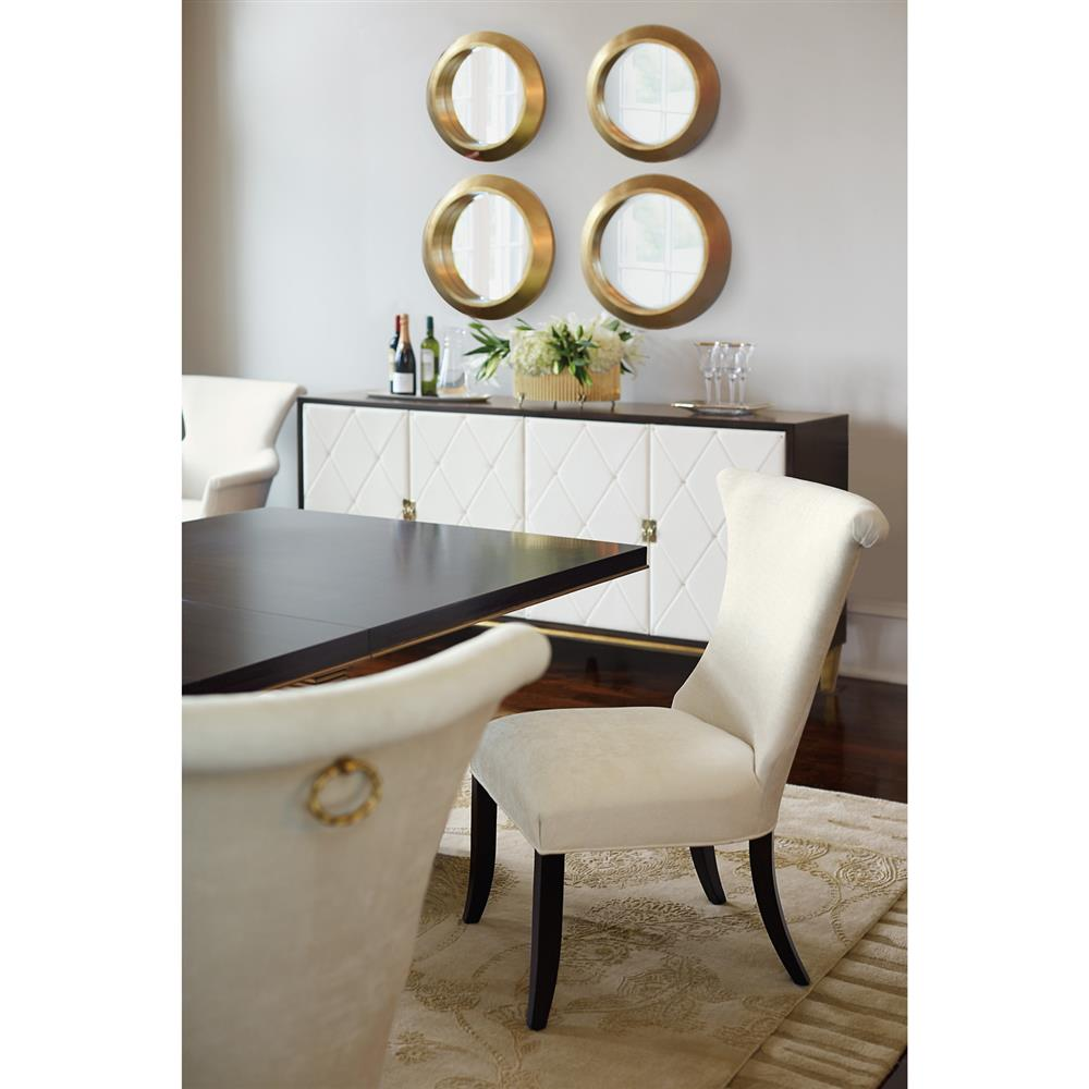 Crawford Regency Terrace Gold Pedestal Wood Dining Table | Kathy Kuo Home