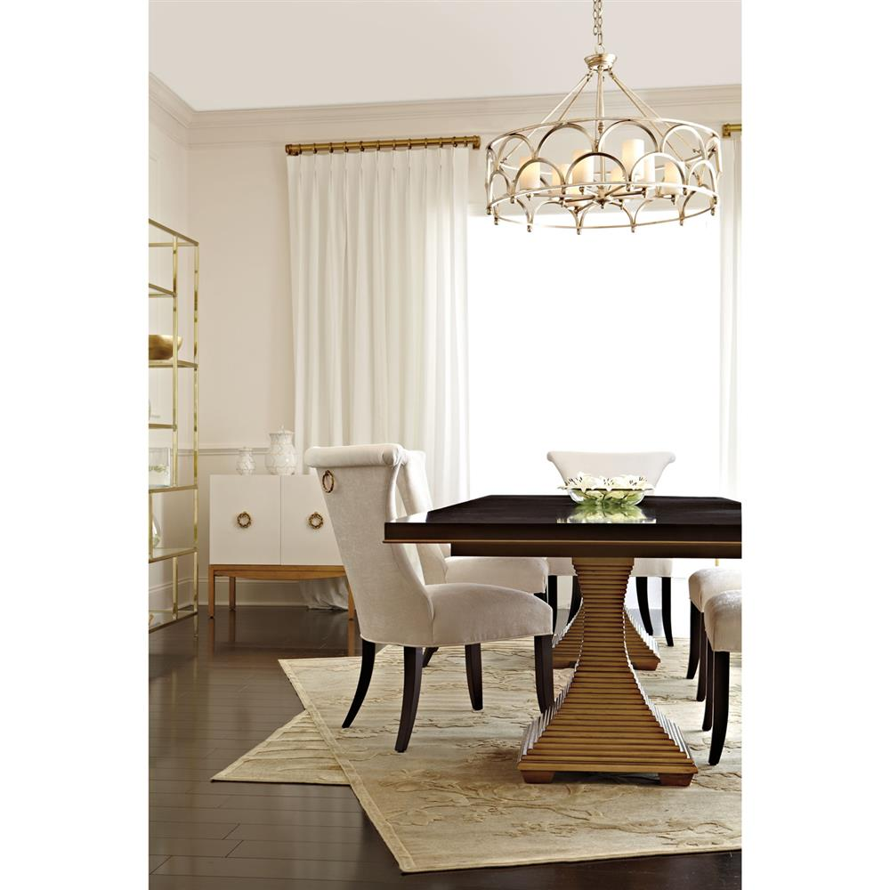 Crawford Regency Terrace Gold Pedestal Wood Dining Table ...