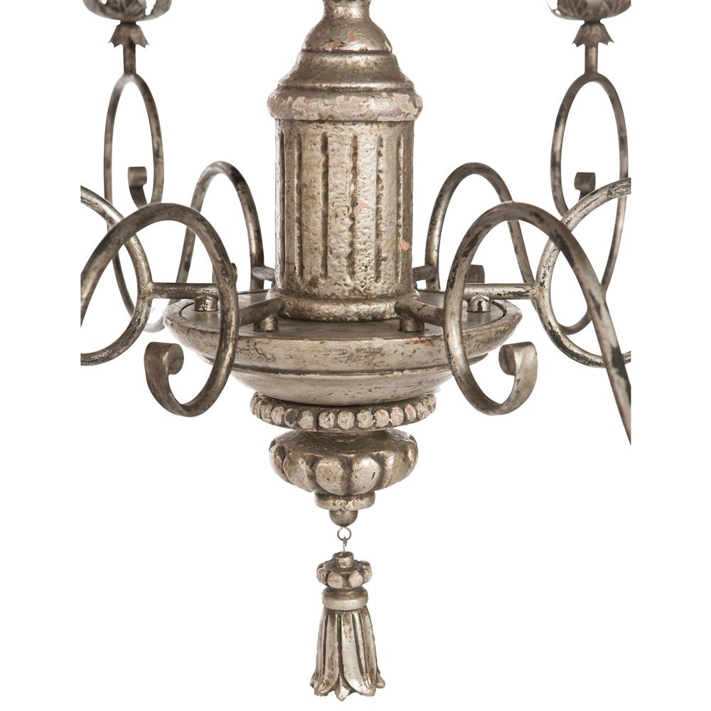 Raphael French Country Antique Silver Leaf Chandelier