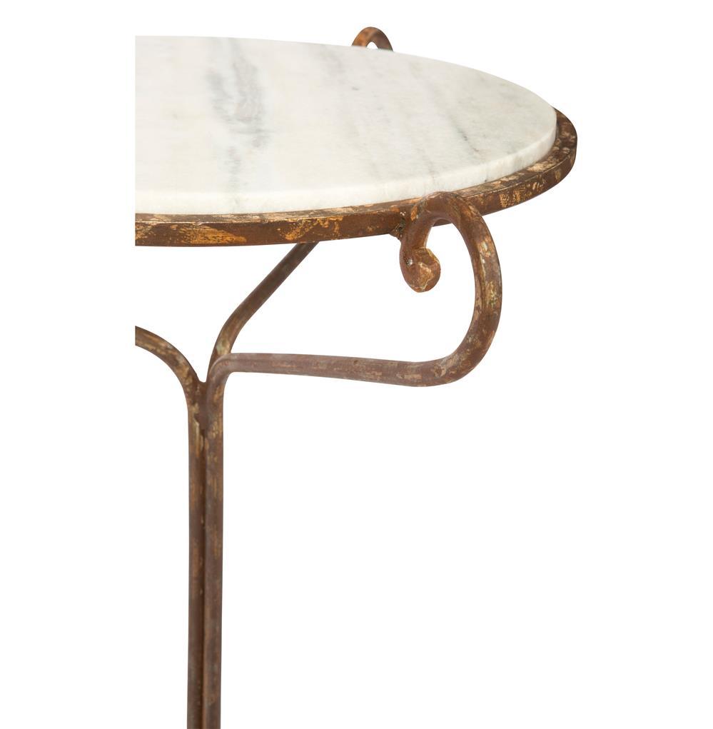 Alexa Hollywood Regency Rustic White Marble End Table