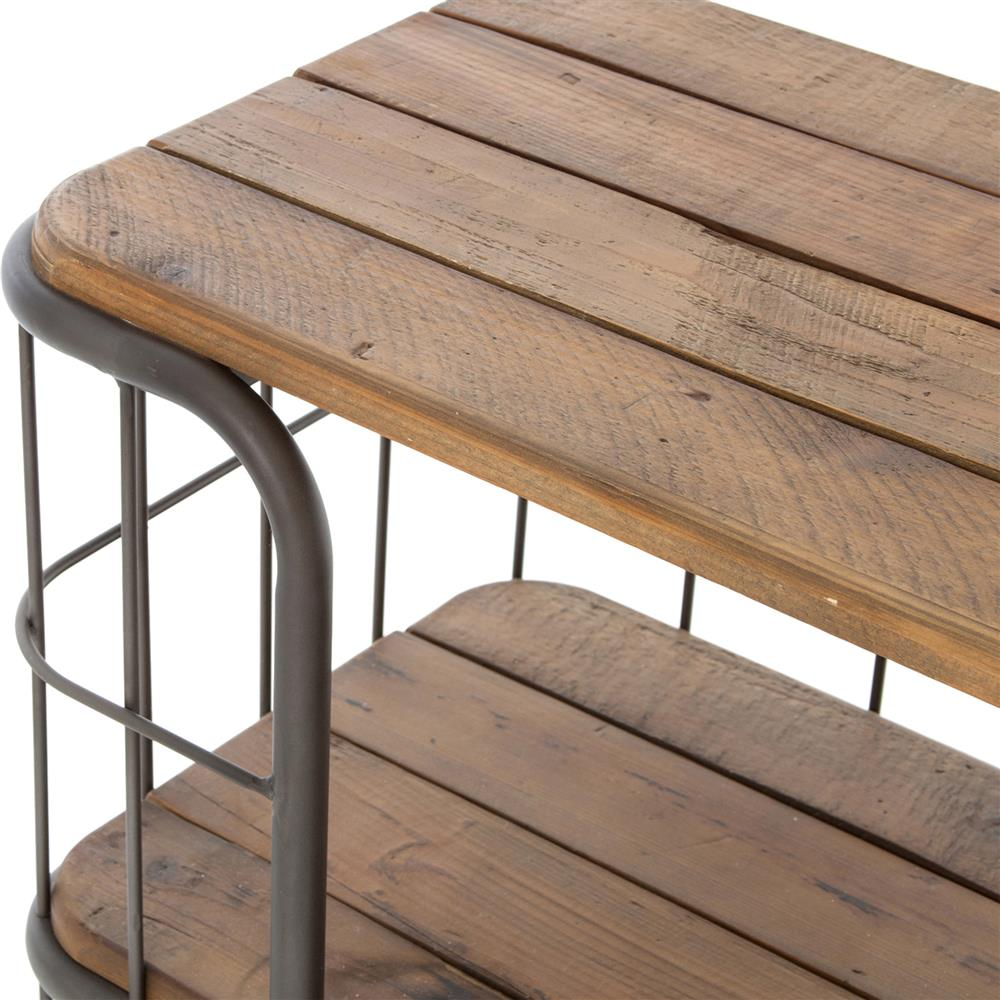 industrial style outdoor furniture. Foundry Industrial Style 3 Tier Rustic Iron Wood Console On Wheels | Kathy Kuo Home Outdoor Furniture
