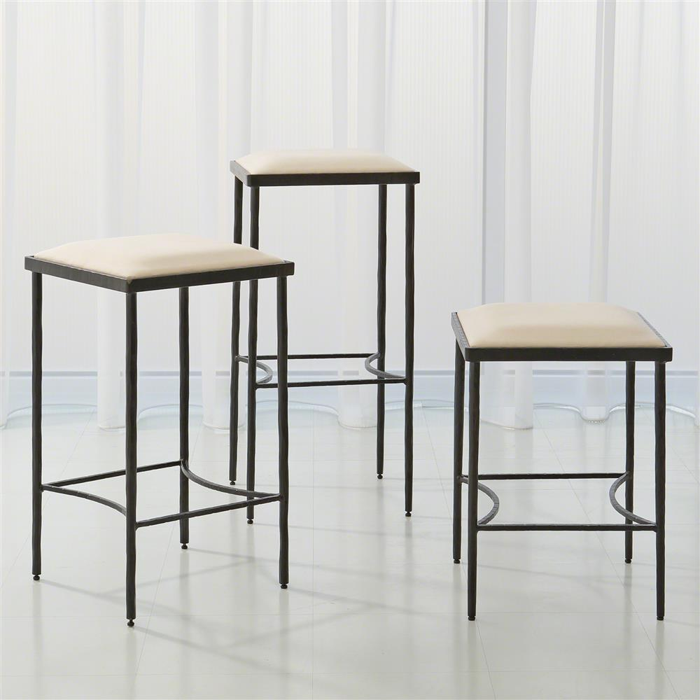 Ivan Industrial Loft Muslin Upholstered Iron Counter Stool