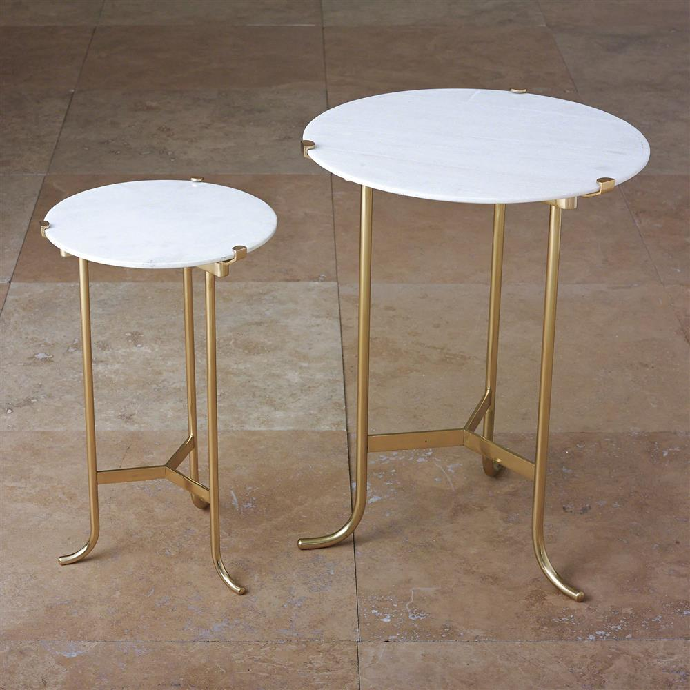 White Marble And Metal Round Accent Table: Pavlova Hollywood Regency Brass White Marble Side Table