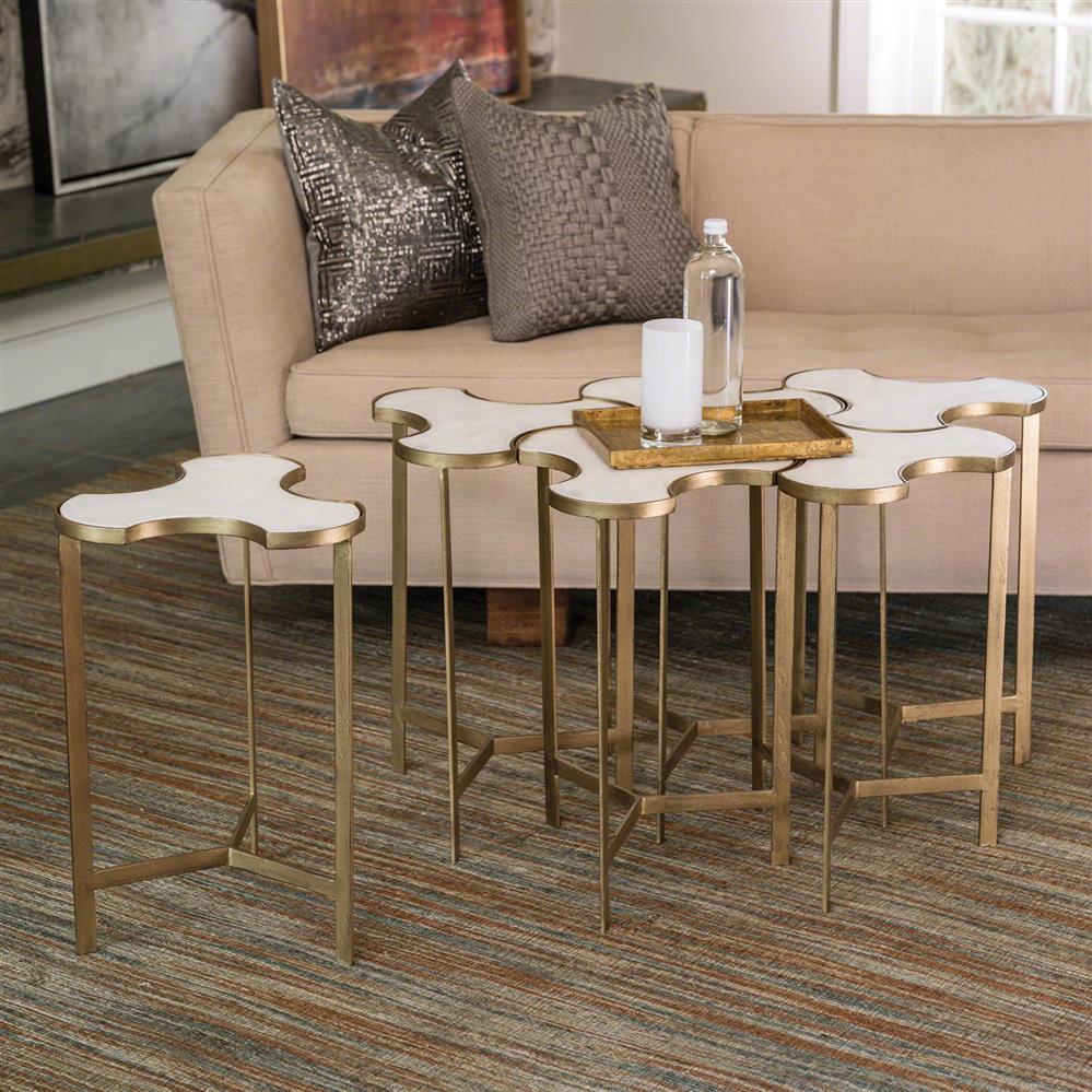Enigma Global Bazaar Antique Gold White Marble Jigsaw Puzzle Table | Kathy  Kuo Home