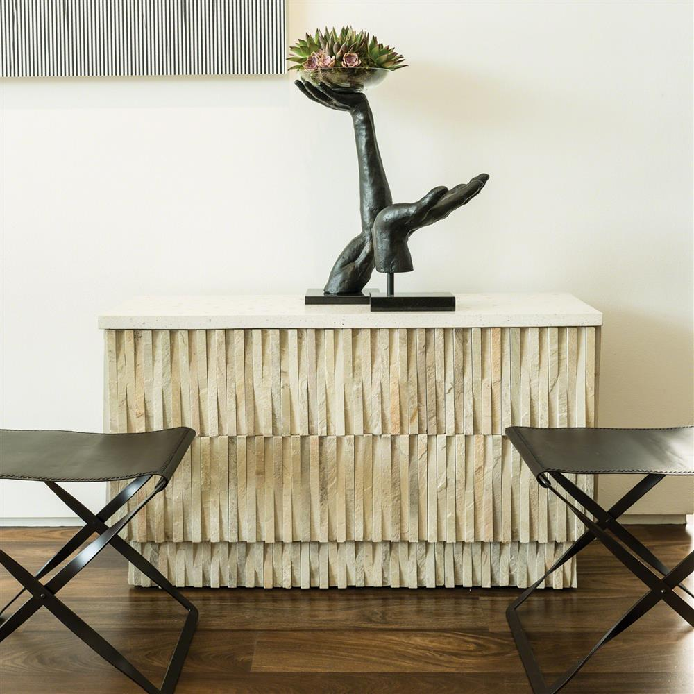 Stone Console Table: Rajasthan Global Bazaar Terrazzo Stone Outdoor Console Table