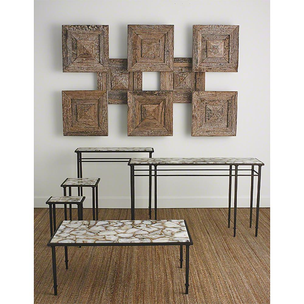 Vesuvio Global Bazaar Agate Stone Iron Console Table   39.75 Inch | Kathy  Kuo Home