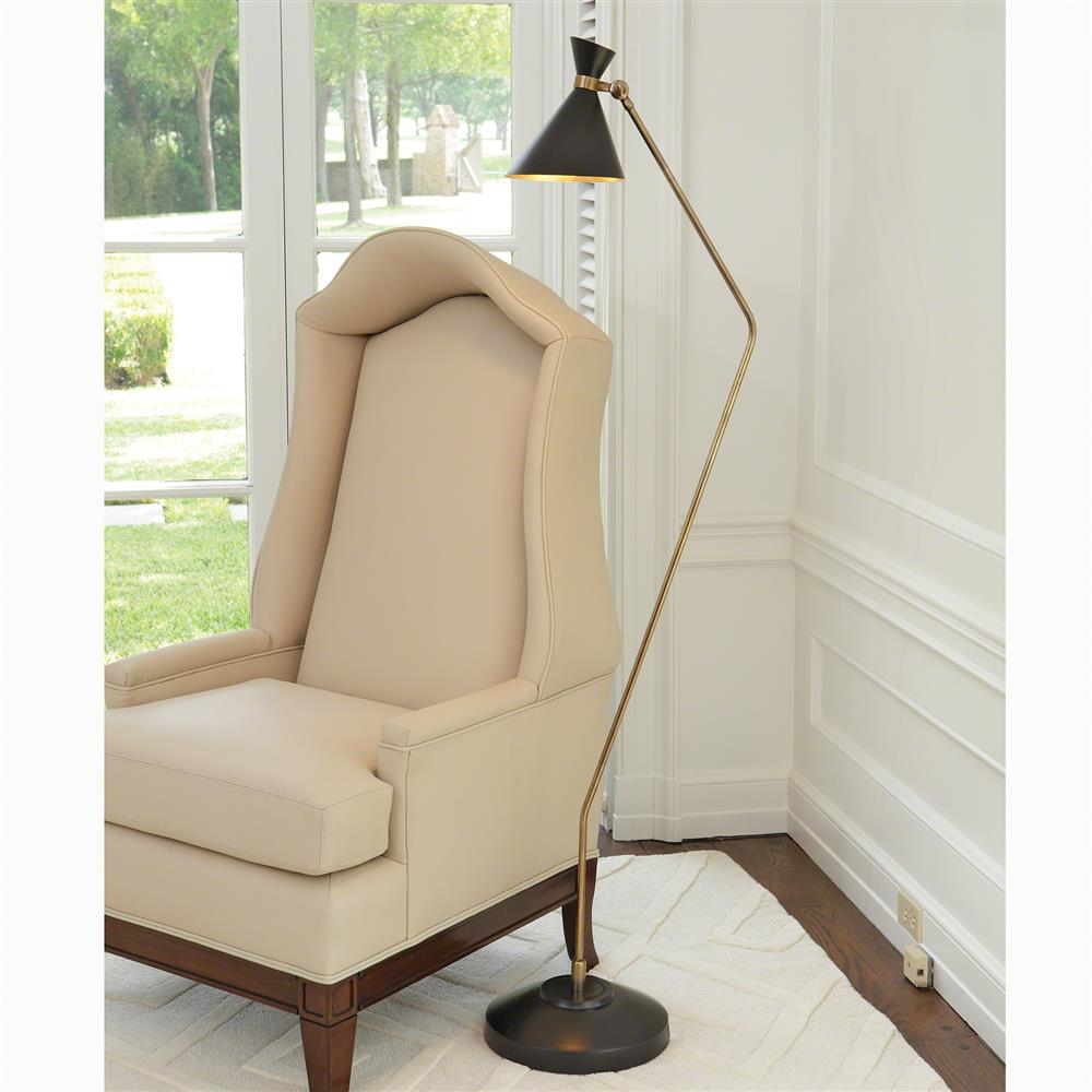 Mercer Mid Century Modern Spun Brass Metal Bronze Floor Lamp