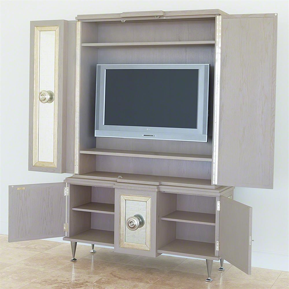 Streep Hollywood Regency Grey Silver Leaf Mirror Media Cabinet | Kathy Kuo  Home