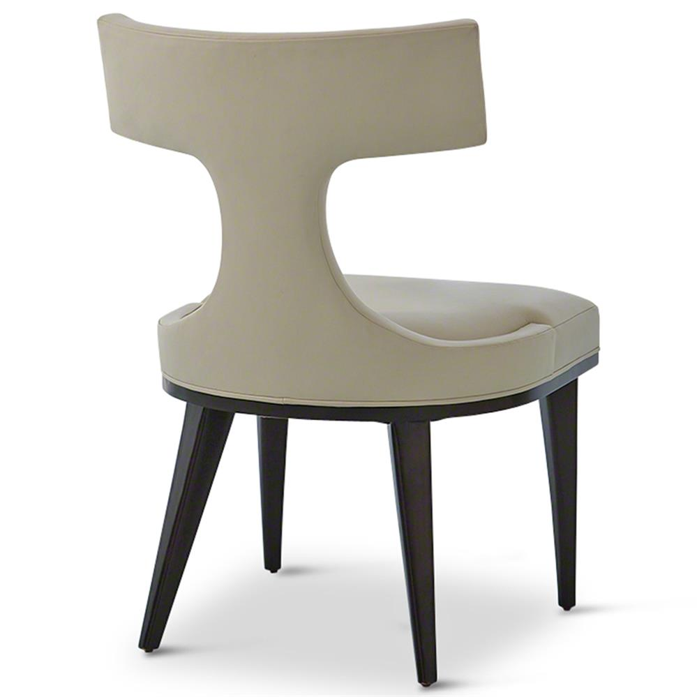 Truman modern classic ivory leather upholstered anvil for Upholstered dining chairs